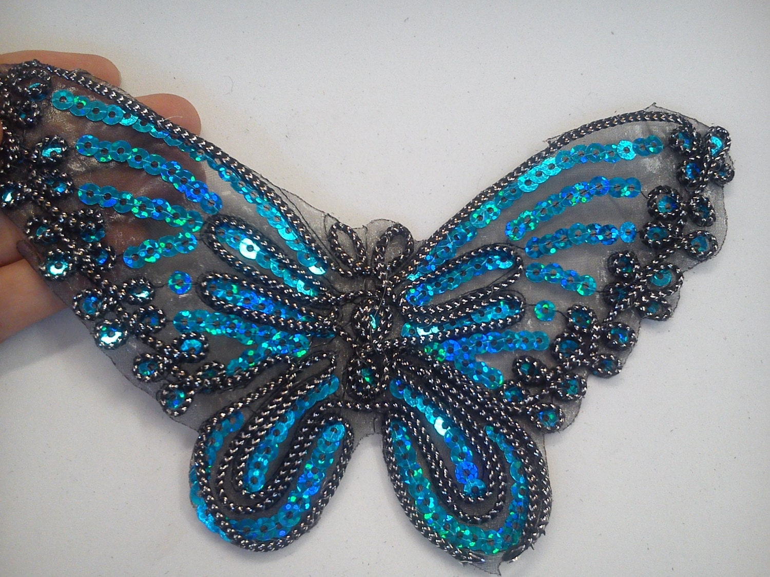 Large butterfly sequin applique embroidery lace by