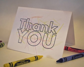 Color Me! Kids' Thank You Card - Thank You Cards for Kids / Coloring Card / Blank Thank You / Gracias / Toddler Thank You / Stationary