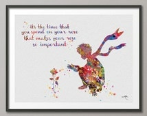 The Little Prince and Rose Quote Le Petit Prince inspiration Watercolor illustrations Art Print Wall Decor Art Home Wall Hanging [NO 223]