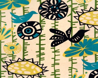 "Premier Prints Designer Fabric Menagerie birds-Sunshine/Natural 5 color choices-54"" wide-Fabric By The Yard decorator fabric FAST SHIPPING"