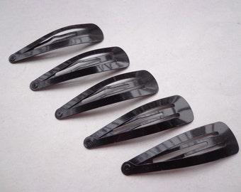 50 pcs black metal Snap Clip--metal hair snap clip--57x15mm