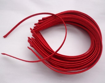 SALE--50 pcs Red Satin Covered Headband 5mm Wide