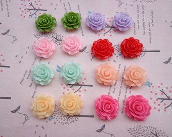 Resin Rose Flower--80 pcs Mixed colors 19 mm Rose Flowers Cabochons Cameo Base Setting