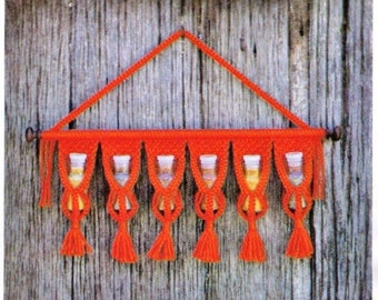 VINtAGE 1970u0027s MaCRAME HaNGING SPiCe RaCk Holder WiTh FRiNge ReTRo Style  KiTchen Size 66X22 Cms 3