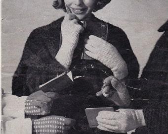 PDF Vintage knitting pattern for women's gloves - downloadable pdf