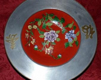JAPANESE PORCELAIN Bowl Pewter/Brass Japanese Porcelain TFF Hand Enameled