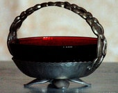 """Antique 4.5"""" Diameter Antique Ruby Red Bowl in Footed Hammered Aluminum Basket"""