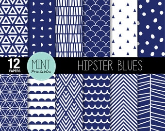 Navy and White Scrapbooking Paper, Digital Paper, Geometric Pattern Modern Chevron, Printable Sheets Blue background - BUY 2 GET 1 FREE!