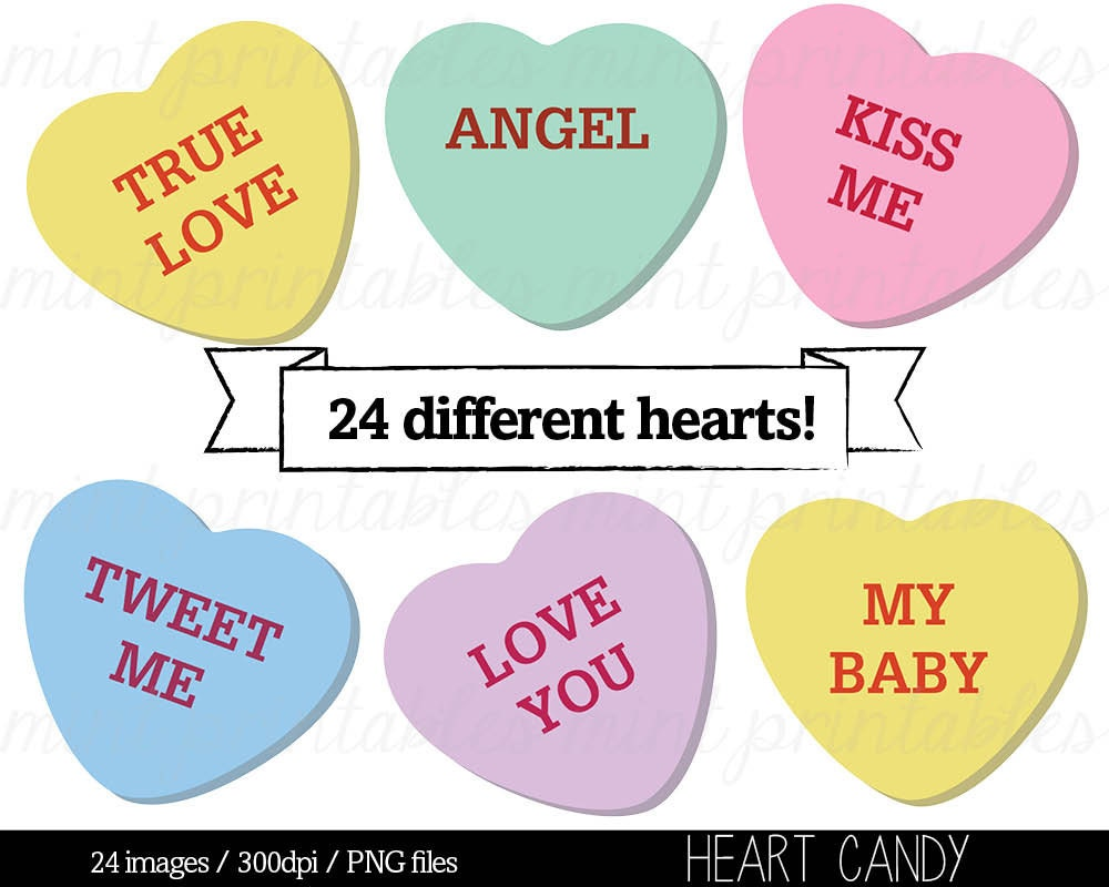 Clip Art Candy Hearts - eClip Art