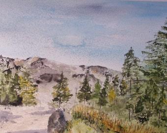 "Watercolor painting,original art,""GERMAN MOUNTAINS""-landscape, pine trees,,European scene,art, blue skies,watercolor painting, sale art,"