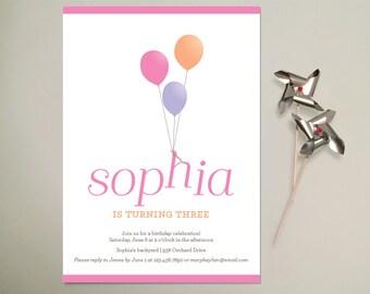 Up, Up And Away balloon birthday invitation - Pink - Printable PDF