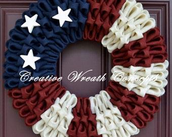 Rustic American Flag Burlap Wreath