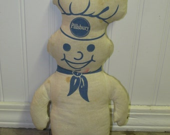 Vintage Pillsbury Dough Boy Poppin' Fresh Stuffed Toy Doll Late 1960's