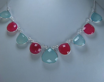 Christmas Sale,  Heart Aqua and Pink Chalcedony Necklace
