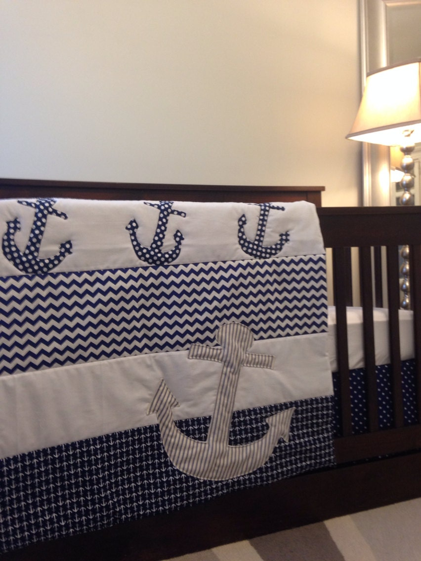 Nautical Baby Bedding Anchors On Baby Bedding By Babyetiquette