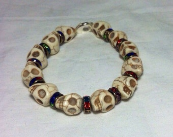 White Stone Skull and Multi-Colored Crystals Bracelet