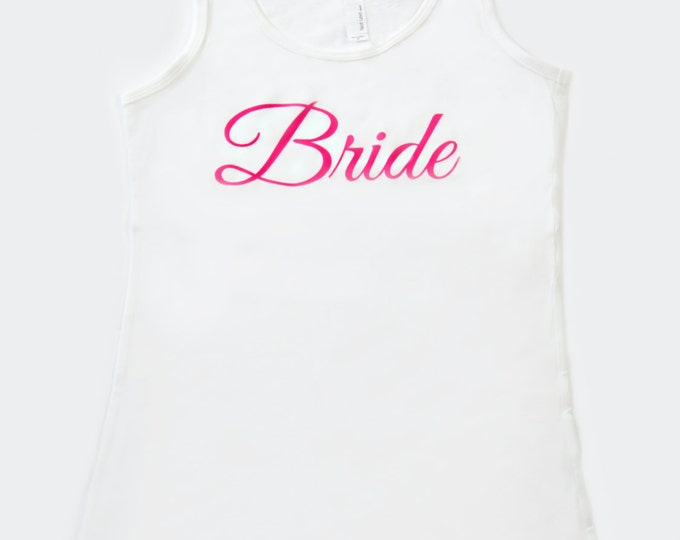 white weddings . white and pink bridesmaid shirts .  bride to be tank top . classic soft bride shirts . jersey knit bride to be shirts