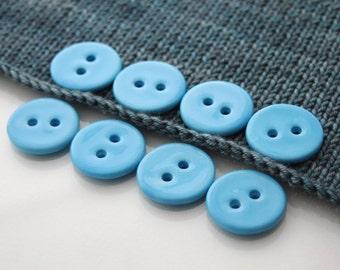 "8 Large Sky Blue Ceramic Buttons (27 mm / 1.1"")"