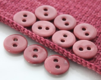 """10 Small Pomegranate Red Ceramic Buttons (21 mm / 0.8"""")"""