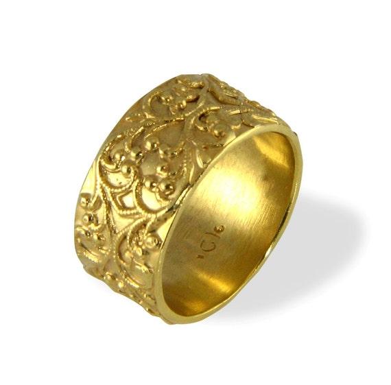 filigree wedding ring vintage style wide wedding by