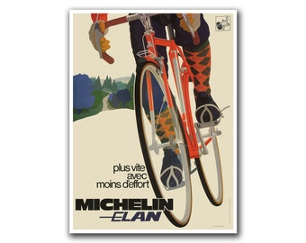 Biking Poster Vintage Cycling Decor Bicycle Art (H227)