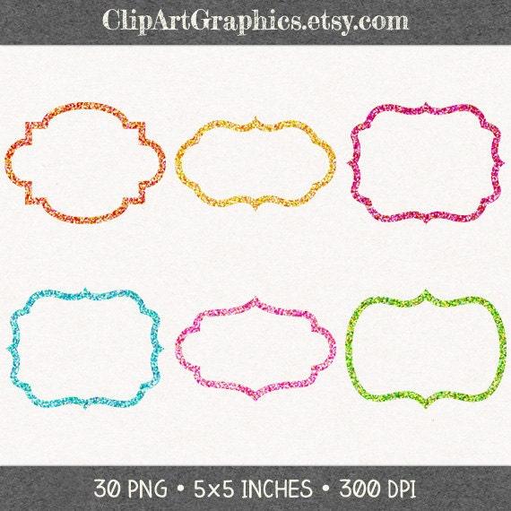Double Bracket Glitter Frame Clipart