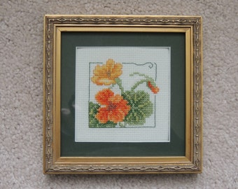 Framed cross stitch flower embroidery- Nasturtium
