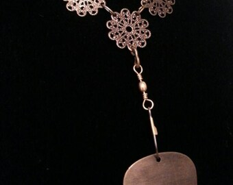 Guitar pick holder necklace with filigree accents