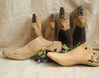 Vintage wooden shoe lasts wooden shoe mold soviet era USSR 1960s shoemaker forms cobbler molds cobbler's lasts rustic wooden shoes form