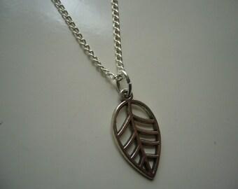 Leaf Necklace - Antique Silver Leaf Necklace - Leaf Pendant Charm - Miniature Leaf- Nickel Free