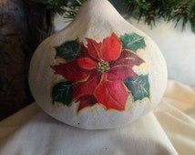 Hand painted poinsettia, painted gourd ornament, Christmas home decor, unique gift, gourd art by Debbie Easley