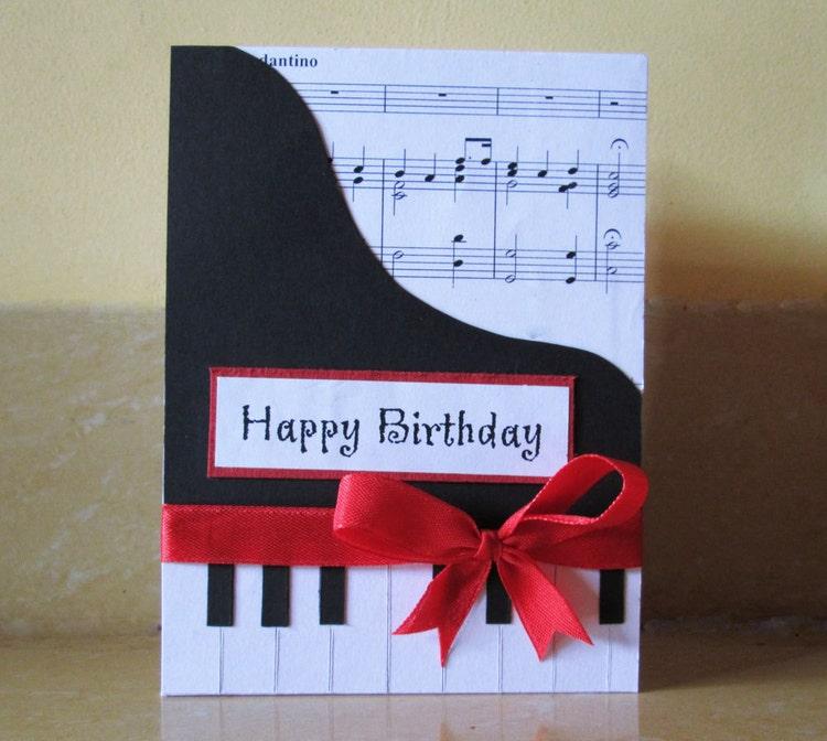 Happy Birthday Music Happy: Piano Happy Birthday Card Music Themed By DreamsByTheRiver