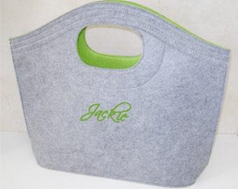 Monogrammed Felt Hobo Tote Bag
