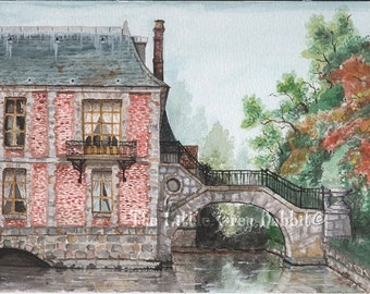 Watercolor Print, France, Castle, Moat, French Chateau, Maintenon, Autumn, Red, Brown, Fine Art Print, French Art, Architecture Watercolor