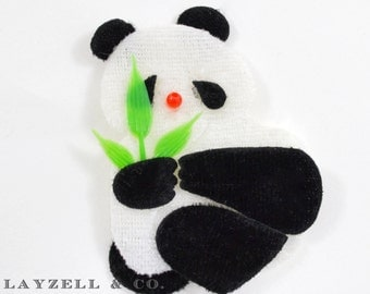 Panda Bear Velvet Embellishment 10 pc