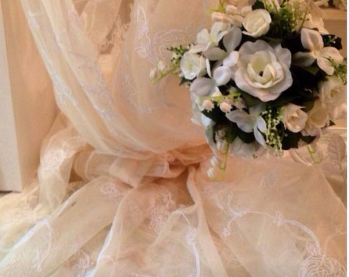 rose embroidery tulle curtain