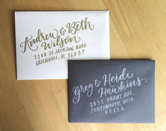 Addressing A Wedding Gift Card : Wedding Calligraphy Envelope Addressing Modern calligraphy Wedding ...