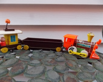1960s Fisher Price Chug Chug Magnetic Train 3 pc Set Engine Caboose Flat Car #168 USA Made