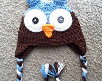 Owl Hat:  Sizes Newborn-12 Months.