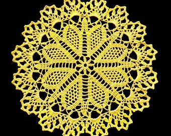 Yellow handmade doily No.164