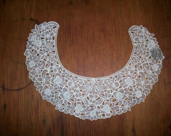 1 1920s antique lace embroidered organdy collar