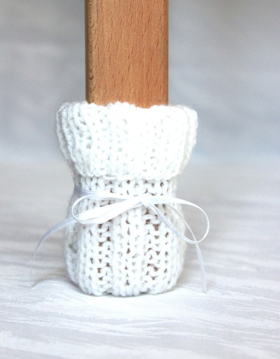 chair socks White set of 4 knitted