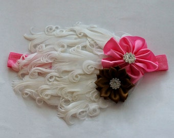 Off White Pink and Brown Feather Pad Headband