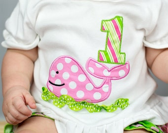 Whale Birthday Shirt, Birthday Number Whale Shirt,Personalization Free, Sizes 3mo-8, Shirt, Tank, Bodysuit