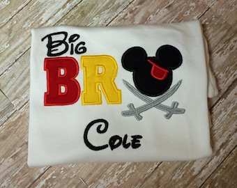 Mickey Big Bro Shirt, Big Brother Shirt, Boys Monogrammed Shirt, Boys Applique Shirt, Sibling Shirt, Boys Chevron shirt