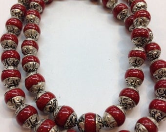 B7 Tibetan Coral with Silver Cap Beads/Necklace