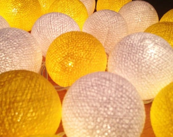 mixed Yellow cotton ball string lights for Patio,Wedding,Party and Decoration