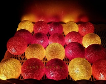 20 SUNSET cotton ball string lights for Patio,Wedding,Party Home decoration