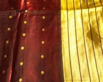 Pure Silk Brown Sari with broad Yellow border, contrast color sari, woven yellow dots all through, light green pallu, Vintage