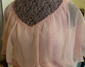 mauve pink 1970s vintage dress with chiffon butterfly top